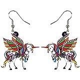 YDXC Pendientes voladores de acrílico Elegante patrón Floral Gota de Agua de Caballo Hada Moda Santo Animal para Mujeres y niñas Aplicar a Las Fiestas Regalos de Baile Etc-Brown_China