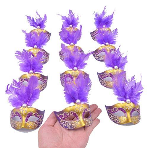 Yiseng 12pcs Luxury Pearl Feather Mini Masks Venetian Masquerade Party Decoration Novelty Gifts (Purple)