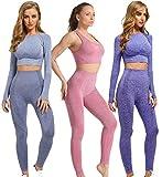 Set Sportivo da 3 Pezzi per Donna Camicia Sportiva Elastica Senza Cuciture per Donna Set da Yoga Elastico Senza Cuciture Camicia Sportiva da Donna, Leggings e Top Set Set Rosa S