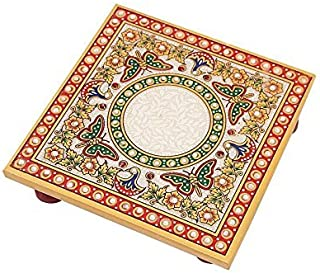 HANDICRAFTS PARADISE Marble Chowki with Intricate Painting Butterfly Design