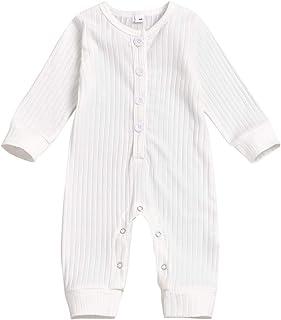 Niemowlę chłopcy dziewczęta ubrania dzianinowy kombinezon body jednoczęściowa piżama prążkowany strój odzież