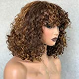 Ombre Brown Curly Bob Brazilian Remy Human Hair Bangs Wigs 13×6 Lace Front 4/30 Colored Wig Preplucked Deep Part Closure Glueless Lace with Baby Hair for Black Women 150% Density 16inch