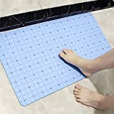Shower Mat, Extra Long Non Slip Bath Mats with Suction Cups and Drain Holes for Bathtub and Bathroom (Blue 27.5 x 15.5 Inches)