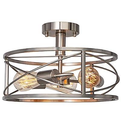 FIMITECH Semi-Flush Mount Ceiling Light, 3-Light Vintage Close to Ceiling Lamp, Ceiling Lights Pendant Lighting Fixtures for Kitchen, Foyer, Dining Room, Living Room, Farmhouse (Brushed Nickel)
