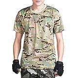 (ガンフリーク) GUN FREAK 迷彩柄 半袖 Tシャツ タクティカル ストレッチ メッシュ サバゲー ( マルチカム 迷彩 , M )