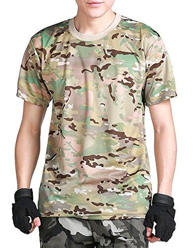 (ガンフリーク) GUN FREAK 迷彩柄 半袖 Tシャツ タクティカル ストレッチ メッシュ サバゲー (マルチカム 迷彩, XXL)