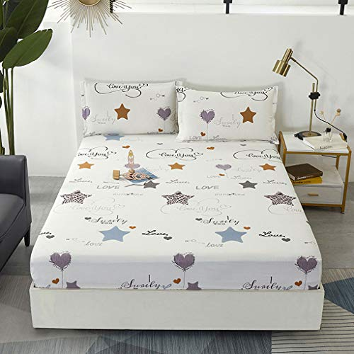 Children's Fitted Bed KING SIZE Sheet, 180 x 200 cm, Pink bee-Beige stars-Cartoon little bear-Green forest-, 100% Quality Pure Cotton Very Soft Bed Kids Fitted Sheets Set With 2 Pillowcase