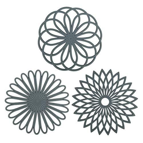 Silikon-Untersetzermatte, Silikon-Untersetzer 3er-Set Mehrzweck-Blumen-Untersetzer-Matte Isolierte flexible, haltbare, rutschfeste Hot-Pads-Untersetzer (grau)