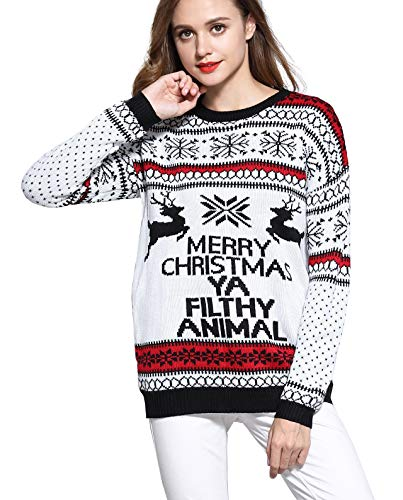 V28 Women's Christmas Reindeer Snowflakes Sweater Pullover (Tag S (US size 6), Cream-PairedRD)