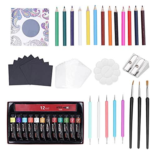 Plantilla de pintura, Mandala, pintura acrílica, pluma de color, pincel de dibujo, juego de libros para colorear para todas las etapas