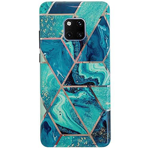 Kompatibel mit Huawei Mate 20 Pro Hülle,Handyhülle Huawei Mate 20 Pro Rosa Marmor Muster Ultradünn TPU Silikon Hülle Schutzhülle Crystal Clear Silikon Bumper Rückschale Case Cover,Design C