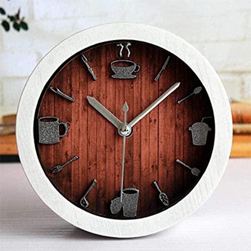 XQMY Oficina Reloj Despertador Ocio Comedor Vajilla Relojes de Escritorio Taza de café Reloj Despertador Retro Vintage Mesa de Madera Reloj Dormitorio A