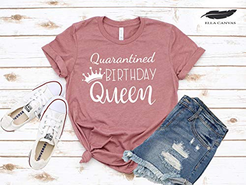 Quarantine Birthday Queen T-shirt, Funny Cute Matching Shirts for Ladies, Girls Summer Tanks
