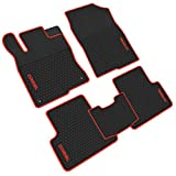 iallauto All Weather Floor Liners Custom Fit for Honda Civic 10th 2016 2017 2018 2019 Heavy Duty Rubber Car Mats Vehicle Carpet Odorless-Black Red