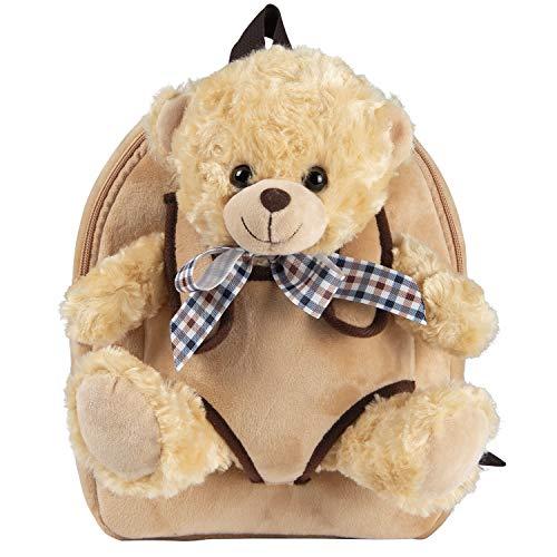 PERLETTI Plush Teddy Bear Backpack for Kids with Fluffy Stuffed Toy - Toddler Children 3 4 5 Years Old Daypack for Kindergarten School - Baby Boy Girl Animal Handbag - 21x27x9 cm (Beige Bear with Bow)