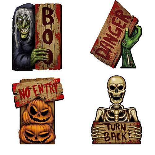 Emopeak Halloween-Schilder für gruselige Outdoor-Dekoration, Vorsicht Requisiten Halloween Outdoor Decor blutig gruselig Zombie Vampir Gräber Urlaub Zubehör (4 Stück)