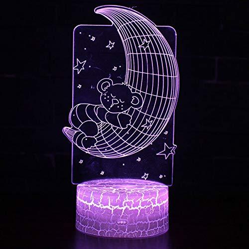 3D nachtlampje maanbeer hema 7 kleuren afstandsbediening touch slaapkamer lamp hoofddecoratie, kinderkerstcadeau