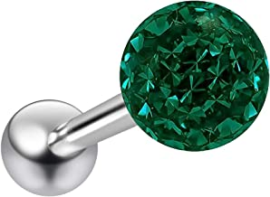 14g Aurora Borealis Sparkling Tongue Ring Glittery Sparkly Crystal for Women Gem Piercing Rings Ball