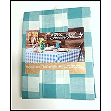 The Pioneer Woman Tablecloth Check Floral Kitchen Linens (60 x102  Tablecloth, Charming Check Blue)
