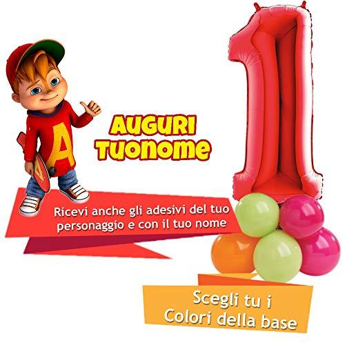 Dolce idea Composizione Personalizzata Mylar Sagoma Numero 1 Rosso con Adesivi di ALVINNN e del Tuo Nome, Base Pallocini e Kit Fai da Te, Addobbi Festa Compleanno