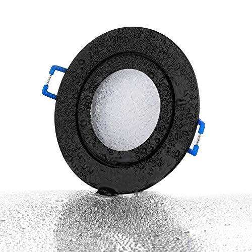 lambado® LED Spots Flach für Badezimmer IP44 in Schwarz - Moderne Deckenstrahler/Einbaustrahler für Außen inkl. 230V 5W Strahler neutralweiß dimmbar - Hell & Sparsam