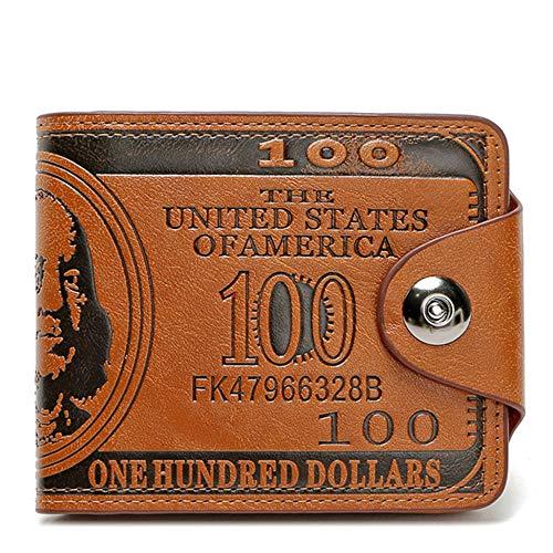 Men's Novelty US 100 Dollar Wallet Bill Money Bifold Safe Purse With Magnetic Buckle-Sibalasi (Brown)