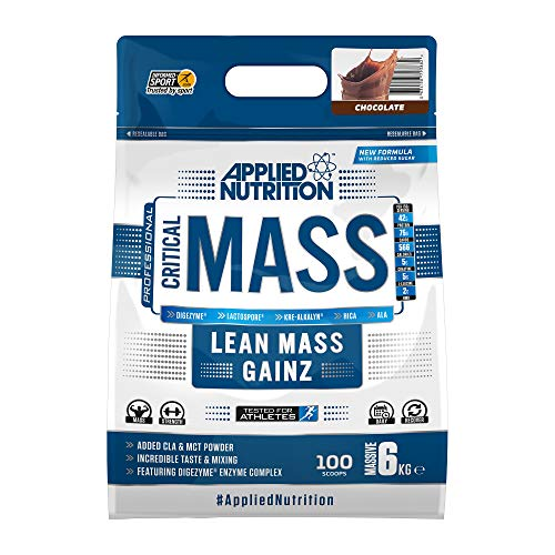 Applied Nutrition Critical Mass Protein Powder High Mass Gainer, Serious Weight Gain Supplement with BCAA, HMB, Glutamine, Leucine, Creatine, 6kg - 40 Servings (Chocolate)