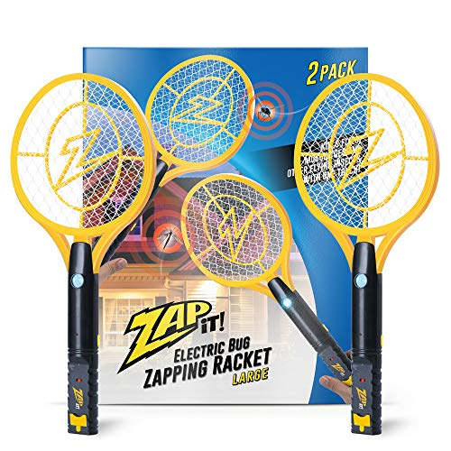 ZAP IT! Bug Zapper Twin-Pack - Rechargeable Mosquito, Fly Killer and Bug Zapper Racket with Blue Light Attractant (Large, Yellow)