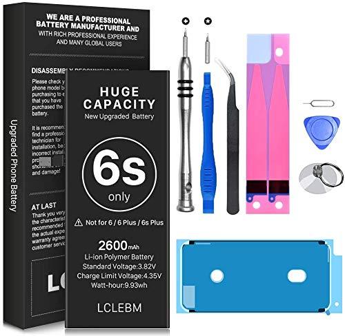 LCLEBM 2600mAh Akku für iPhone 6S, Ersatzbatterie mit hoher Kapazität und 0 Zyklen, komplette professioneller Reparaturwerkzeugsätze und Klebestreifen im Lieferumfang enthalten - 18 Monate Garantie