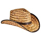 """Coco Cowboy Hat, Western Rolled Up Cocoa Cowboy Hat, Adult Medium, 22.5"""" (2-Pack)"""
