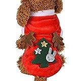 Idepet Felpa con Cappuccio per Cane Renne di Natale Animale Domestico Caldo Autunno Inverno Cappotto Vestiti in Cotone per Cani con Tasca Tuta da Cane per Cani di Piccola Taglia Teddy Poodle (S)