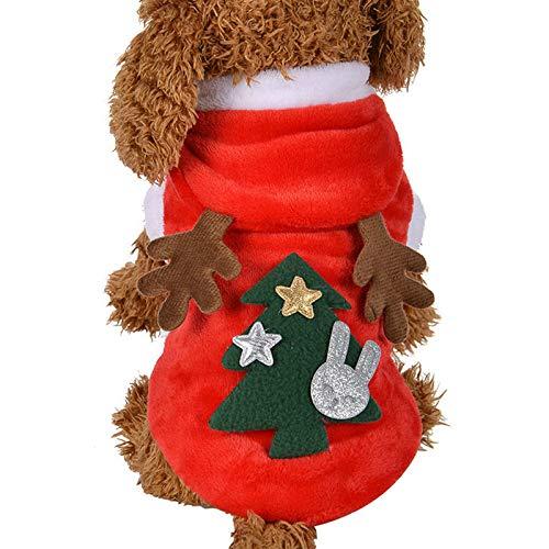 Idepet Hund Katze Hoodie Weihnachts Rentier Haustier-Warmer Herbst-Winter-Mantel Baumwolle Hundebekleidung mit Tasche Hund Overall für Kleine Hunde Welpen Schnauzer Teddy Pudel Chihuahua MEHRWEG