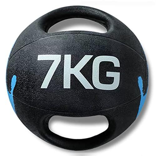 ZXQZ Balones Medicinales Ponderados con Doble Asa, para Gimnasio, Fitness En Casa, Exterior, Interior, Wall Ball para Pilates, HIIT, Ejercicio Entrenamiento con Pelota de Pesas (Size : 7kg)