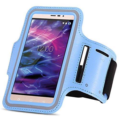 Medion Life X6001 Jogging Tasche Handy Hülle Sportarmband Fitnesstasche Lauf Bag, Farben:Hellblau