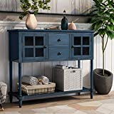 Wood Console Sofa Table with Storage Drawers and Bottom Shelf, Storage Buffet Sideboard Cabinet for Kitchen/Entryway Side Table for Living Room (Antique Navy)
