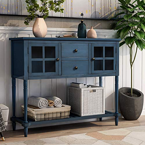 Console Table with Bottom Shelf, Buffet Sideboard Farmhouse Wood Storage Cabinet for Living Room (Antique Navy)