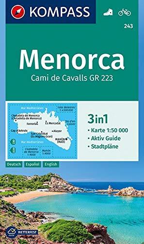 KOMPASS Wanderkarte Menorca: 3in1 Wanderkarte 1:50000 mit Aktiv Guide und Stadtplänen. Fahrradfahren. (KOMPASS-Wanderkarten, Band 243)
