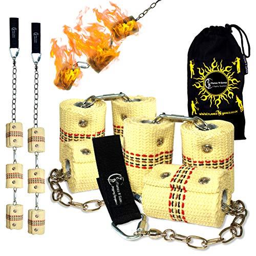 Pro Feuer Poi (6X 65mm Docht - XXL Flammen) Flames N Games Fire Poi +Reisetasche. Swinging Poi, Spinning Pois und Feuer Jonglieren für Anfänger und Profis.