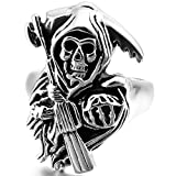 INBLUE Men's Stainless Steel Ring Band Silver Tone Black Death Grim Reaper Skull Casted Size8