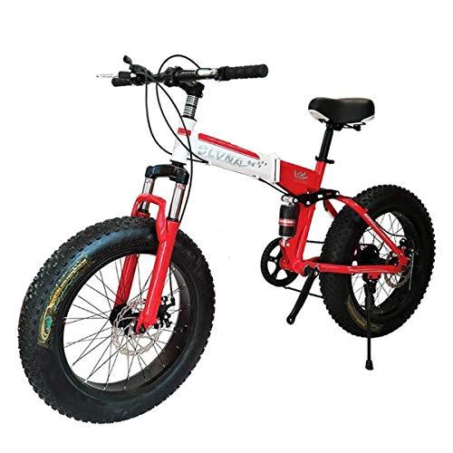 XUXUWA Bike Folding Bicycle Mountain Bike 26 Inch with Super Lightweight Steel Frame,Dual Suspension Folding Bike and 27 Speed Gear,Red,7Speed