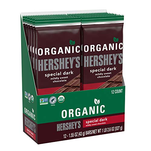 HERSHEY'S ORGANIC SPECIAL DARK Mildly Sweet Dark Chocolate Candy, Bulk Candy, 12 pack of 1.55 Ounce bars, Milk-Chocolate, 18.6 Ounce
