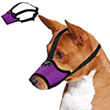 Dog Muzzle for Small Medium Large Dogs,Prevent Biting Barking Pet Muzzle Nylon Soft Mesh Breathable Adjustable Loop Muzzle Anti-Dropping (M, Purple)