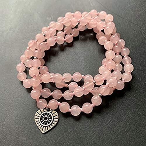 HYJMJJ Pulsera Feng Shui Bead Cuarzo Rosa Natural 108 Perlas de oración Tibetan Budista Mala Pulsera Pulsera Collar Anudado Rosa Amor Piedra corazón encantos 1pc 6mm Pulsera de Abalorios de Amuleto