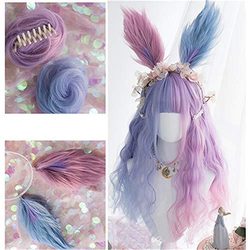 KONNIQIWA Lolita Wig Purple Mixed Blue 25.5 inch Long Curly Bangs Party Wigs for Women Girls (Wig+Buns+Headband)