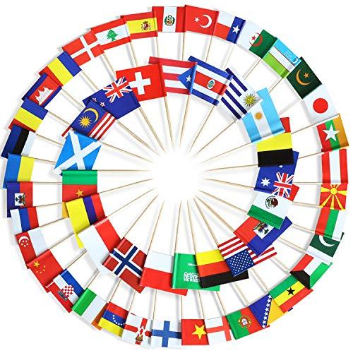 Anley Sortiert 100 Verschiedene Länder Zahnstocher Flagge - lebendiger doppelseitiger Druck und solide Glatte Auswahl - Partydekoration Cocktail Fruit Stick Cupcakes Topper (100 Stück)