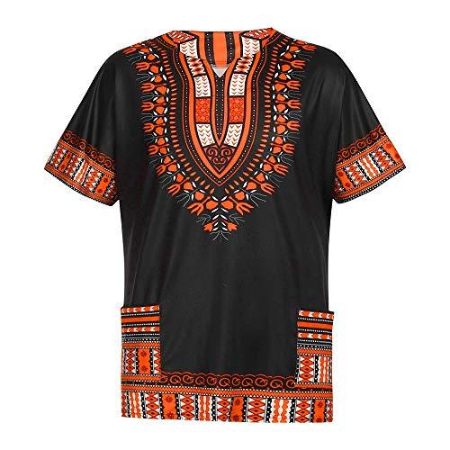 Herren T-Shirt Afrika Stil Print Kurzarm Shirt Basic Rundhals Ausschnitt Shirt Retro Pullover Oversize Sweatshirt Fitness Training Sportshirt Sommer Casual Slim Fit Tops S-XXL