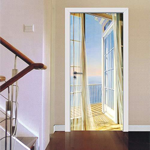 Kesdie Muurstickers, 3D-stickers, modern, voor balkon, expansie fotobehang voor woonkamer, slaapkamer, wanddecoratie van PVC, 77 x 200 cm
