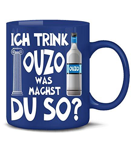 Golebros Ich Trink Ouzo was Machst du so 4923 Grieche Griechenland Greece Tasse Becher Kaffeetasse Kaffeebecher mit Spruch Geschenke Geburtstag Geschenk