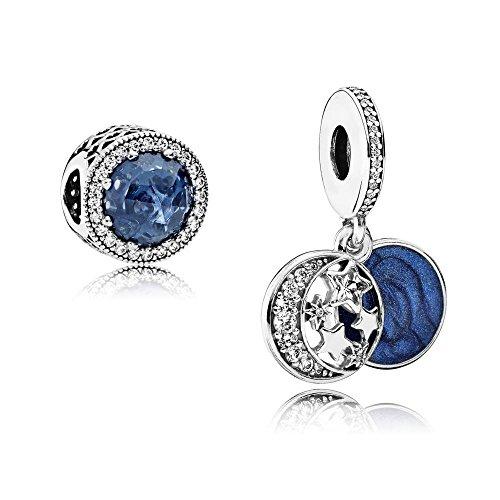 Set de regalo original de Pandora – 1 colgante de plata 791993CZ con cielo nocturno vintage + 1 colgante de plata 791725NMB con corona de corazón azul medianoche