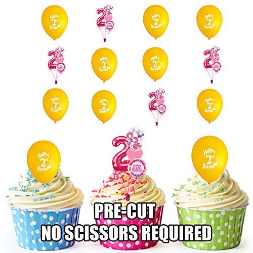 PRE-Cut 2e Meisjes Verjaardag Geel Ballonnen Eetbare Cupcake Toppers/Cake Decoraties (Pack van 12